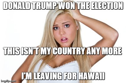 Dumb blonde weighs in on the election | DONALD TRUMP WON THE ELECTION I'M LEAVING FOR HAWAII THIS ISN'T MY COUNTRY ANY MORE | image tagged in dumb blonde,donald trump,2016 election | made w/ Imgflip meme maker