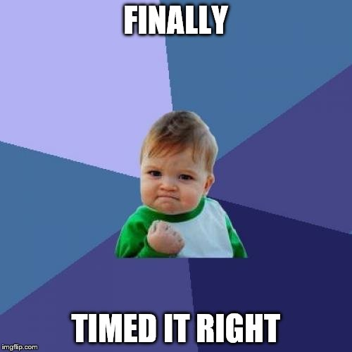Success Kid Meme | FINALLY TIMED IT RIGHT | image tagged in memes,success kid | made w/ Imgflip meme maker