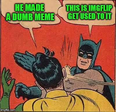 Batman Slapping Robin Meme | HE MADE A DUMB MEME THIS IS IMGFLIP GET USED TO IT | image tagged in memes,batman slapping robin | made w/ Imgflip meme maker