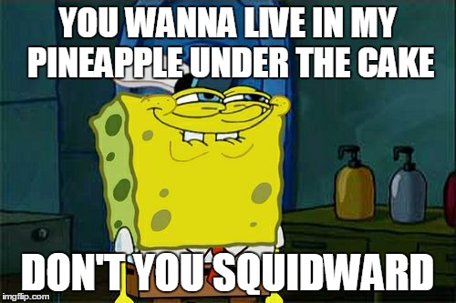 Dont You Squidward Meme | YOU WANNA LIVE IN MY PINEAPPLE UNDER THE CAKE DON'T YOU SQUIDWARD | image tagged in memes,dont you squidward | made w/ Imgflip meme maker
