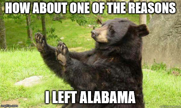 No Bear Blank | HOW ABOUT ONE OF THE REASONS I LEFT ALABAMA | image tagged in no bear blank | made w/ Imgflip meme maker