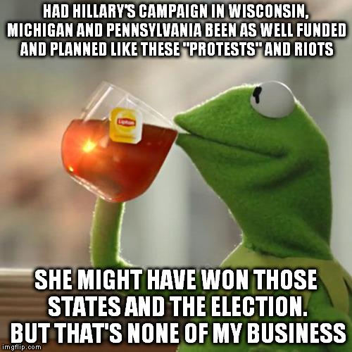 "But Thats None Of My Business Meme | HAD HILLARY'S CAMPAIGN IN WISCONSIN, MICHIGAN AND PENNSYLVANIA BEEN AS WELL FUNDED AND PLANNED LIKE THESE ""PROTESTS"" AND RIOTS SHE MIGHT HAV 
