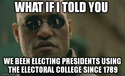 Matrix Morpheus Meme | WHAT IF I TOLD YOU WE BEEN ELECTING PRESIDENTS USING THE ELECTORAL COLLEGE SINCE 1789 | image tagged in memes,matrix morpheus | made w/ Imgflip meme maker