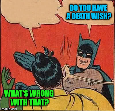 Batman Slapping Robin Meme | WHAT'S WRONG WITH THAT? DO YOU HAVE A DEATH WISH? | image tagged in memes,batman slapping robin | made w/ Imgflip meme maker