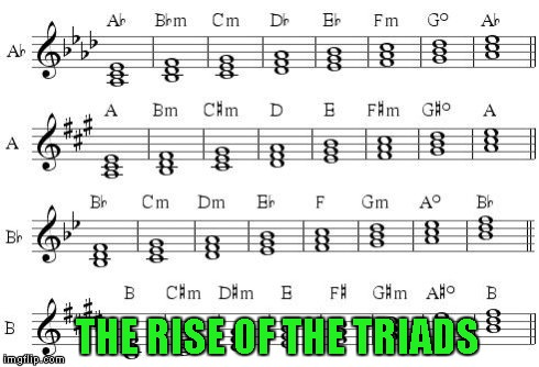A silly meme for the musically inclined! | THE RISE OF THE TRIADS | image tagged in rise of the triads,memes,music,musical,triads | made w/ Imgflip meme maker