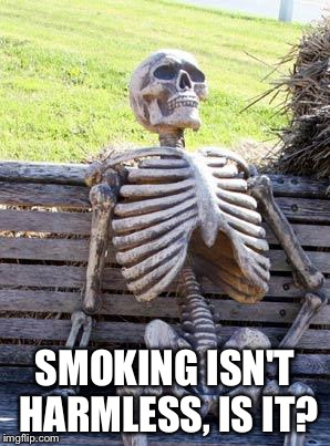 Waiting Skeleton Meme | SMOKING ISN'T HARMLESS, IS IT? | image tagged in memes,waiting skeleton | made w/ Imgflip meme maker