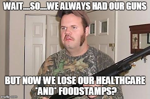 Trump voter reality setting in |  WAIT....SO....WE ALWAYS HAD OUR GUNS; BUT NOW WE LOSE OUR HEALTHCARE *AND* FOODSTAMPS? | image tagged in redneck wonder,trump | made w/ Imgflip meme maker