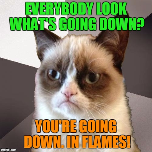 EVERYBODY LOOK WHAT'S GOING DOWN? YOU'RE GOING DOWN. IN FLAMES! | made w/ Imgflip meme maker