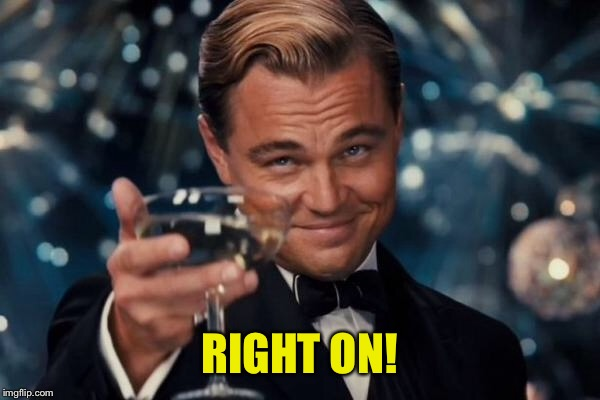 Leonardo Dicaprio Cheers Meme | RIGHT ON! | image tagged in memes,leonardo dicaprio cheers | made w/ Imgflip meme maker