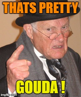Back In My Day Meme | THATS PRETTY GOUDA ! | image tagged in memes,back in my day | made w/ Imgflip meme maker