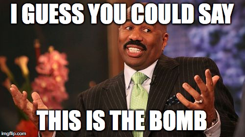 Steve Harvey Meme | I GUESS YOU COULD SAY THIS IS THE BOMB | image tagged in memes,steve harvey | made w/ Imgflip meme maker