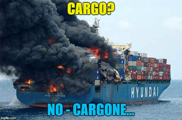 Captain Brian takes charge of his first voyage... | CARGO? NO - CARGONE... | image tagged in container disaster,memes,bad luck brian,fire,ship,cargo | made w/ Imgflip meme maker