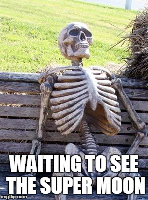 Waiting Skeleton Meme | WAITING TO SEE THE SUPER MOON | image tagged in memes,waiting skeleton | made w/ Imgflip meme maker