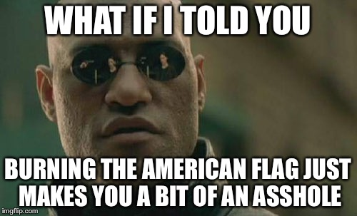Matrix Morpheus Meme |  WHAT IF I TOLD YOU; BURNING THE AMERICAN FLAG JUST MAKES YOU A BIT OF AN ASSHOLE | image tagged in memes,matrix morpheus | made w/ Imgflip meme maker
