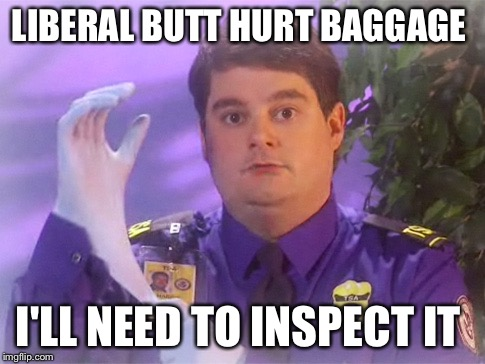 TSA Douche | LIBERAL BUTT HURT BAGGAGE I'LL NEED TO INSPECT IT | image tagged in memes,tsa douche | made w/ Imgflip meme maker