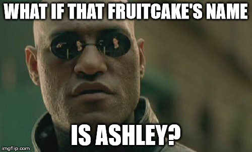Matrix Morpheus Meme | WHAT IF THAT FRUITCAKE'S NAME IS ASHLEY? | image tagged in memes,matrix morpheus | made w/ Imgflip meme maker