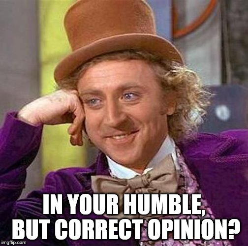 Creepy Condescending Wonka Meme | IN YOUR HUMBLE, BUT CORRECT OPINION? | image tagged in memes,creepy condescending wonka | made w/ Imgflip meme maker