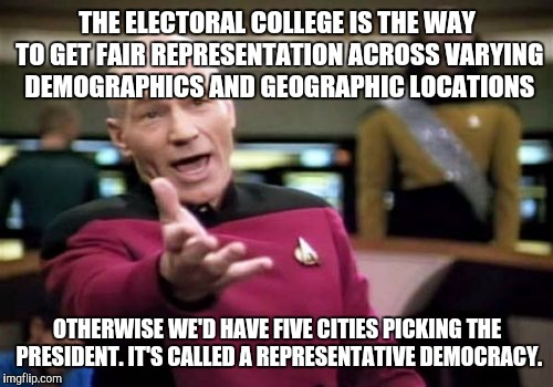 Picard Wtf Meme | THE ELECTORAL COLLEGE IS THE WAY TO GET FAIR REPRESENTATION ACROSS VARYING DEMOGRAPHICS AND GEOGRAPHIC LOCATIONS OTHERWISE WE'D HAVE FIVE CI | image tagged in memes,picard wtf | made w/ Imgflip meme maker