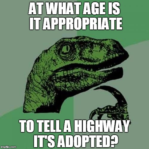 Philosoraptor Meme | AT WHAT AGE IS IT APPROPRIATE TO TELL A HIGHWAY IT'S ADOPTED? | image tagged in memes,philosoraptor,adopted,adopted highway,highway,puns | made w/ Imgflip meme maker