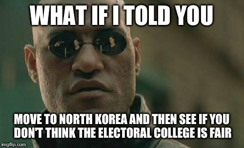 Matrix Morpheus Meme | WHAT IF I TOLD YOU MOVE TO NORTH KOREA AND THEN SEE IF YOU DON'T THINK THE ELECTORAL COLLEGE IS FAIR | image tagged in memes,matrix morpheus | made w/ Imgflip meme maker