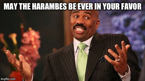 Steve Harvey Meme | MAY THE HARAMBES BE EVER IN YOUR FAVOR | image tagged in memes,steve harvey | made w/ Imgflip meme maker