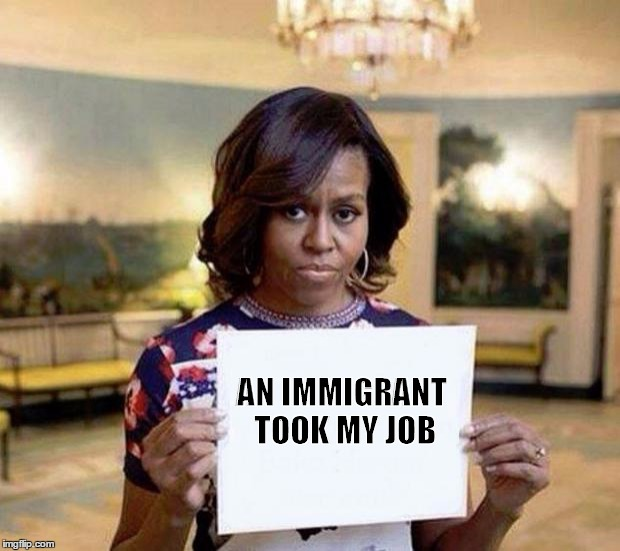 Michelle Obama blank sheet | AN IMMIGRANT TOOK MY JOB | image tagged in michelle obama blank sheet | made w/ Imgflip meme maker