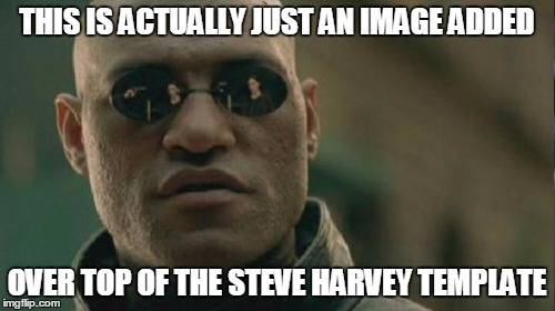 THIS IS ACTUALLY JUST AN IMAGE ADDED OVER TOP OF THE STEVE HARVEY TEMPLATE | made w/ Imgflip meme maker