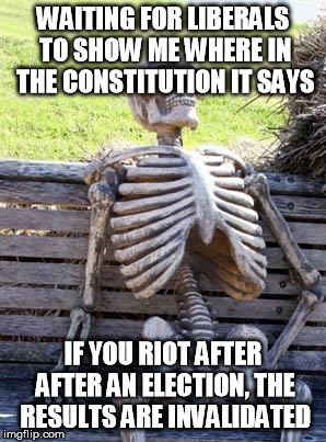 Waiting Skeleton Meme | WAITING FOR LIBERALS TO SHOW ME WHERE IN THE CONSTITUTION IT SAYS IF YOU RIOT AFTER AFTER AN ELECTION, THE RESULTS ARE INVALIDATED | image tagged in memes,waiting skeleton | made w/ Imgflip meme maker