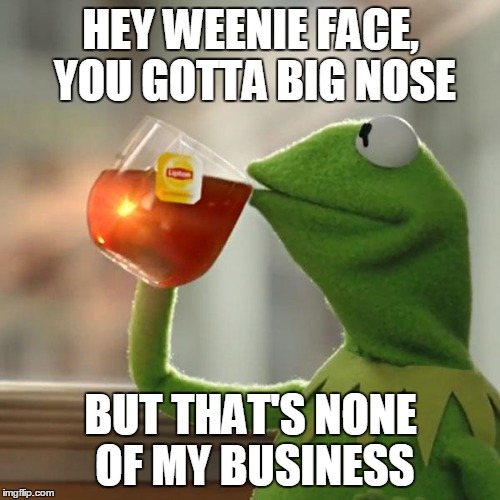 But Thats None Of My Business Meme | HEY WEENIE FACE, YOU GOTTA BIG NOSE BUT THAT'S NONE OF MY BUSINESS | image tagged in memes,but thats none of my business,kermit the frog | made w/ Imgflip meme maker