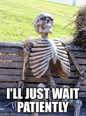 Waiting Skeleton Meme | I'LL JUST WAIT PATIENTLY | image tagged in memes,waiting skeleton | made w/ Imgflip meme maker