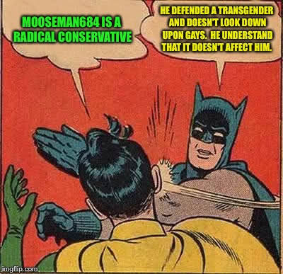 Batman Slapping Robin Meme | MOOSEMAN684 IS A RADICAL CONSERVATIVE HE DEFENDED A TRANSGENDER AND DOESN'T LOOK DOWN UPON GAYS.  HE UNDERSTAND THAT IT DOESN'T AFFECT HIM. | image tagged in memes,batman slapping robin | made w/ Imgflip meme maker