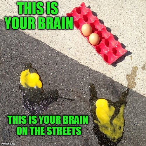 THIS IS YOUR BRAIN THIS IS YOUR BRAIN ON THE STREETS | made w/ Imgflip meme maker