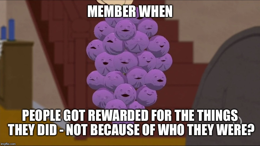 Member Berries Meme | MEMBER WHEN PEOPLE GOT REWARDED FOR THE THINGS THEY DID - NOT BECAUSE OF WHO THEY WERE? | image tagged in memes,member berries | made w/ Imgflip meme maker