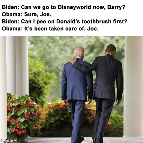 Biden and Obama go to Disney | image tagged in obama,biden,trump | made w/ Imgflip meme maker