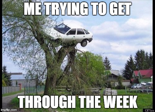 Secure Parking Meme |  ME TRYING TO GET; THROUGH THE WEEK | image tagged in memes,secure parking | made w/ Imgflip meme maker