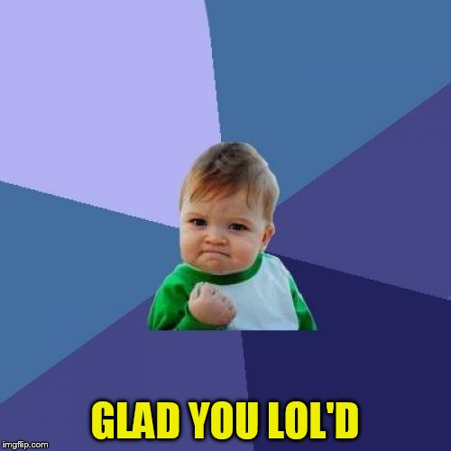 Success Kid Meme | GLAD YOU LOL'D | image tagged in memes,success kid | made w/ Imgflip meme maker
