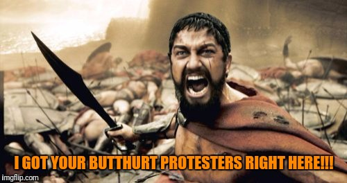 Sparta Leonidas Meme | I GOT YOUR BUTTHURT PROTESTERS RIGHT HERE!!! | image tagged in memes,sparta leonidas | made w/ Imgflip meme maker