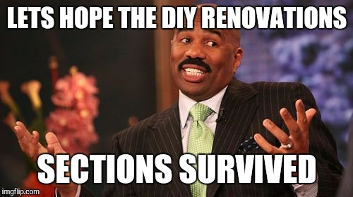 Steve Harvey Meme | LETS HOPE THE DIY RENOVATIONS SECTIONS SURVIVED | image tagged in memes,steve harvey | made w/ Imgflip meme maker