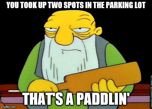 That's a paddlin' |  YOU TOOK UP TWO SPOTS IN THE PARKING LOT; THAT'S A PADDLIN' | image tagged in memes,that's a paddlin' | made w/ Imgflip meme maker
