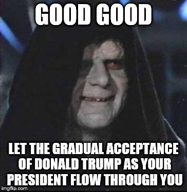 Sidious Error | GOOD GOOD LET THE GRADUAL ACCEPTANCE OF DONALD TRUMP AS YOUR PRESIDENT FLOW THROUGH YOU | image tagged in memes,sidious error | made w/ Imgflip meme maker