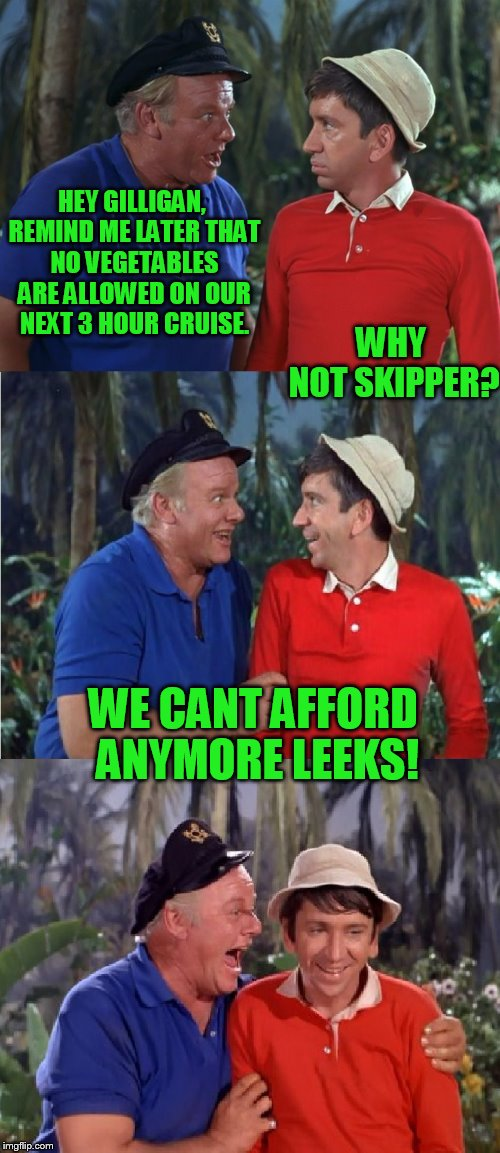 Gilligan Bad Pun | HEY GILLIGAN, REMIND ME LATER THAT NO VEGETABLES ARE ALLOWED ON OUR NEXT 3 HOUR CRUISE. WE CANT AFFORD ANYMORE LEEKS! WHY NOT SKIPPER? | image tagged in gilligan bad pun | made w/ Imgflip meme maker