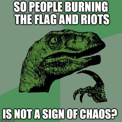 Philosoraptor Meme | SO PEOPLE BURNING THE FLAG AND RIOTS IS NOT A SIGN OF CHAOS? | image tagged in memes,philosoraptor | made w/ Imgflip meme maker