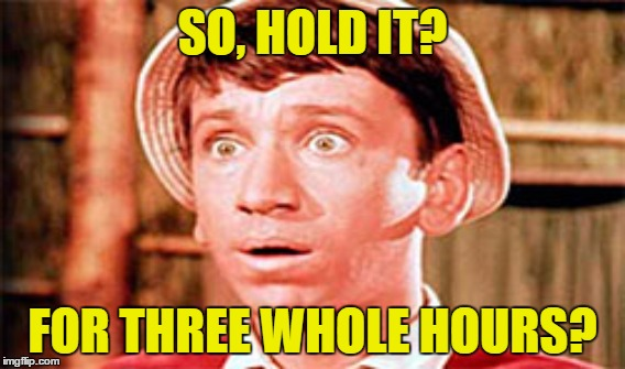 SO, HOLD IT? FOR THREE WHOLE HOURS? | made w/ Imgflip meme maker