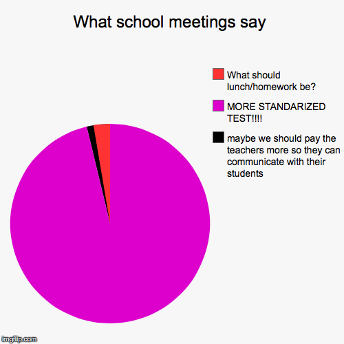 What school meetings say | maybe we should pay the teachers more so they can communicate with their students, MORE STANDARIZED TEST!!!!, Wha | image tagged in funny,pie charts | made w/ Imgflip pie chart maker