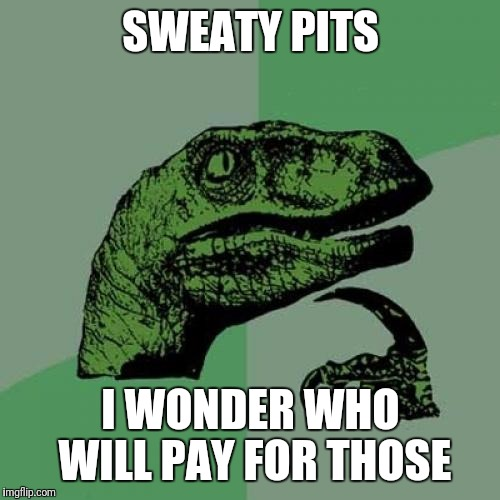 Philosoraptor Meme | SWEATY PITS I WONDER WHO WILL PAY FOR THOSE | image tagged in memes,philosoraptor | made w/ Imgflip meme maker