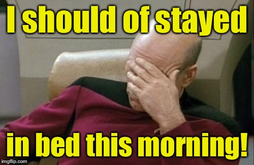 Captain Picard Facepalm Meme | I should of stayed in bed this morning! | image tagged in memes,captain picard facepalm | made w/ Imgflip meme maker