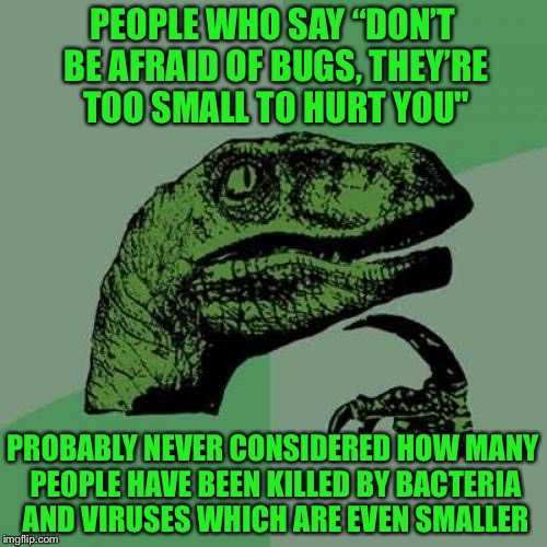 "Philosoraptor | PEOPLE WHO SAY ""DON'T BE AFRAID OF BUGS, THEY'RE TOO SMALL TO HURT YOU"" PROBABLY NEVER CONSIDERED HOW MANY PEOPLE HAVE BEEN KILLED BY BACTER 