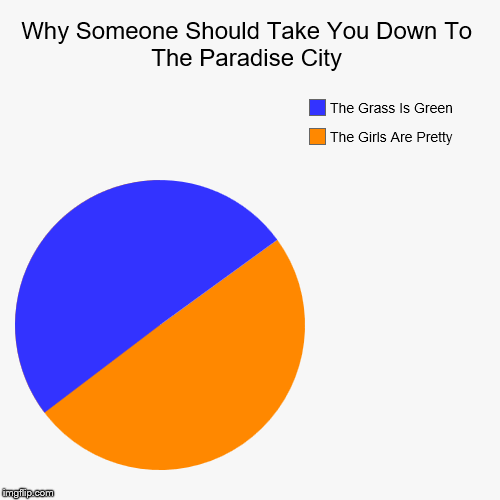 Guns N Roses | Why Someone Should Take You Down To The Paradise City | The Girls Are Pretty, The Grass Is Green | image tagged in funny,pie charts | made w/ Imgflip pie chart maker
