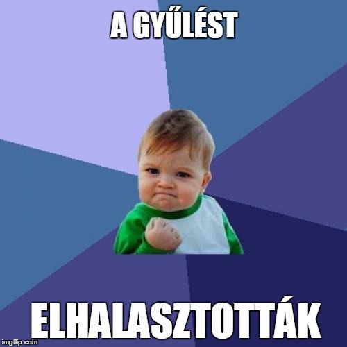 Success Kid Meme | A GYŰLÉST ELHALASZTOTTÁK | image tagged in memes,success kid | made w/ Imgflip meme maker