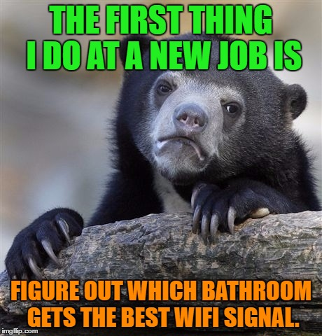 Confession Bear Meme | THE FIRST THING I DO AT A NEW JOB IS FIGURE OUT WHICH BATHROOM GETS THE BEST WIFI SIGNAL. | image tagged in memes,confession bear | made w/ Imgflip meme maker